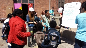 Students educate members of the community.