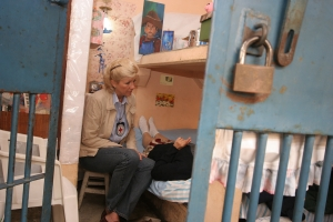 Red Cross delegate visits a detainee