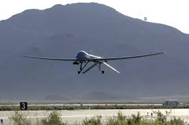 An MQ-1 Predator unmanned aerial vehicle takes off from Creech Air Force Base, Nev., May 11, for a training sortie over the Nevada desert. (U.S. Air Force photo/Staff Sgt. Brian Ferguson)