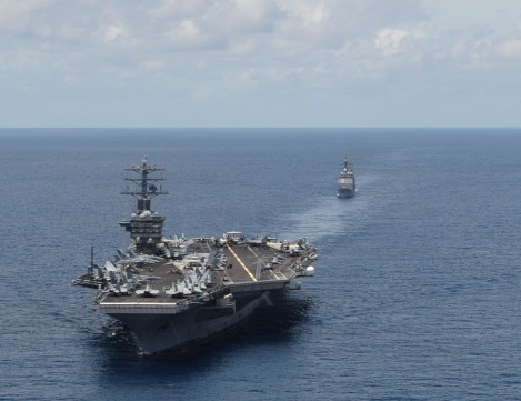 The aircraft carrier USS Nimitz (CVN 68) and the guided-missile cruiser USS Princeton (CG 59) transit the Indian Ocean. (U.S. Navy photo by Mass Communication Specialist Seaman Apprentice Kelly M. Agee/Released)