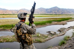 Providing security in the Noorgal district, Konar province, Afghanistan.    (U.S. Army photo by Spc. Lorenzo Ware/ Released)