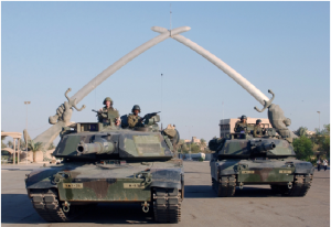 American Abrams tanks posing in Ceremony Square, Baghdad, Iraq in 2003. (PHOTO: United States Air Force)