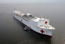 The Military Sealift Command (MSC) hospital ship USNS Mercy (T-AH 19). (U.S. Navy photo by Chief Photographer's Mate Edward G. Martens/Released)