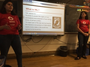"Members of the Bayside High School Red Cross Club conduct a ""teach-in"" as part of their IHL Action Campaign."