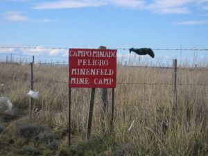 minefield warning in Punta Espora, Chile